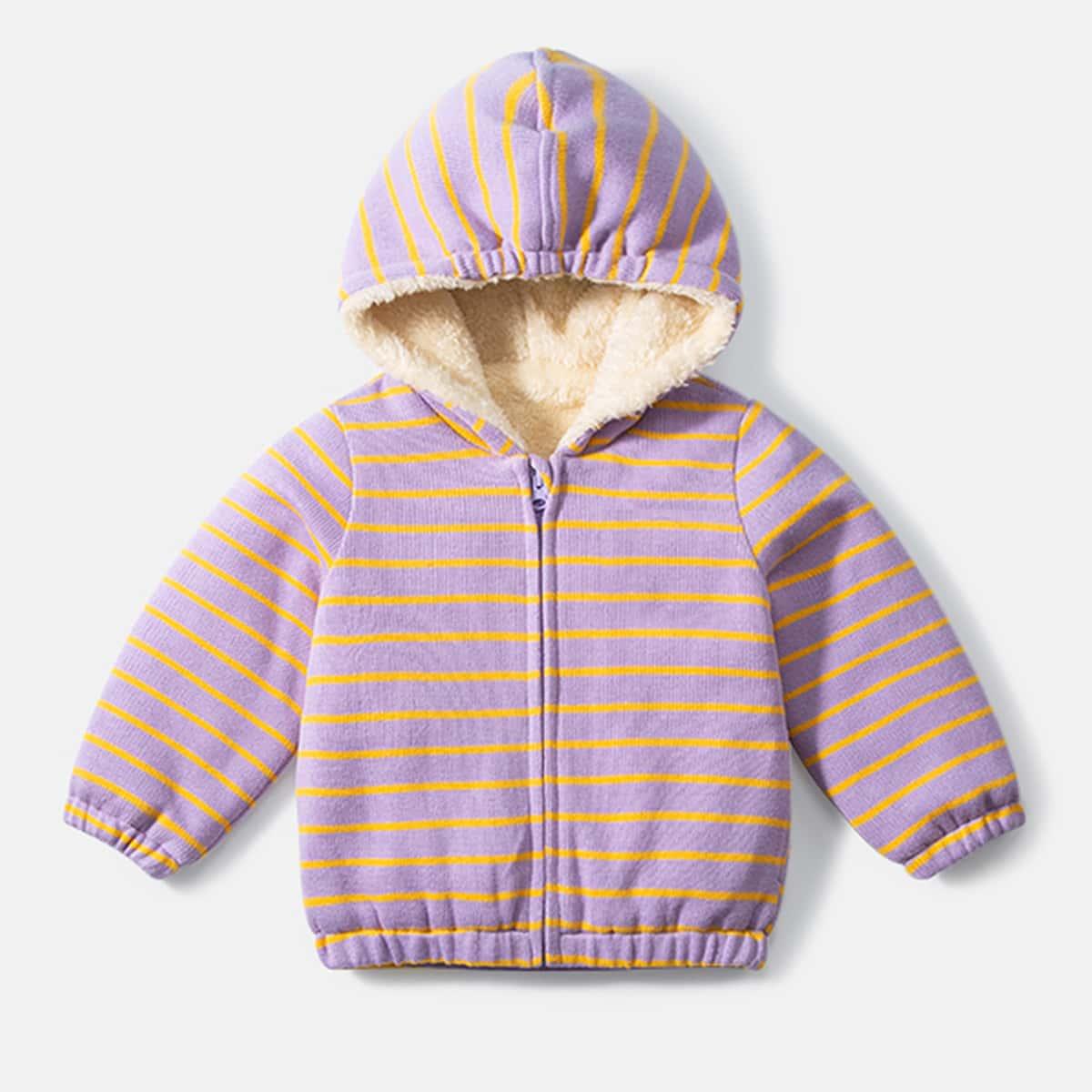 Куртка в полоску с капюшоном и плюшевой отделкой для девочек