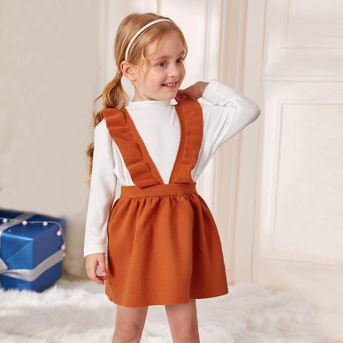 Вязаный свитер и трикотажное платье с подтяжками для девочек