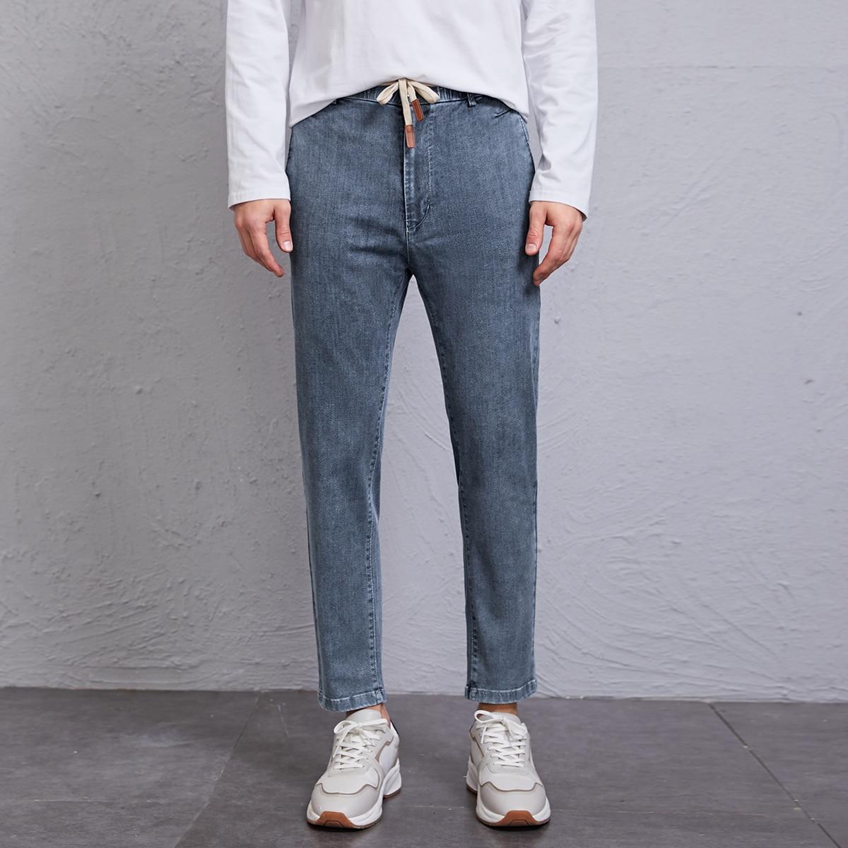Мужские джинсы на кулиске с карманами