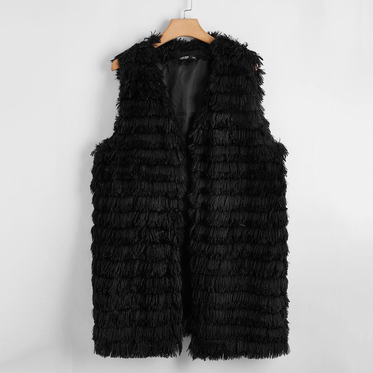 Пальто-жилет размера плюс из искусственного меха