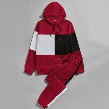 Guys Color-block Drawstring Thermal Hoodie & Sweatpants