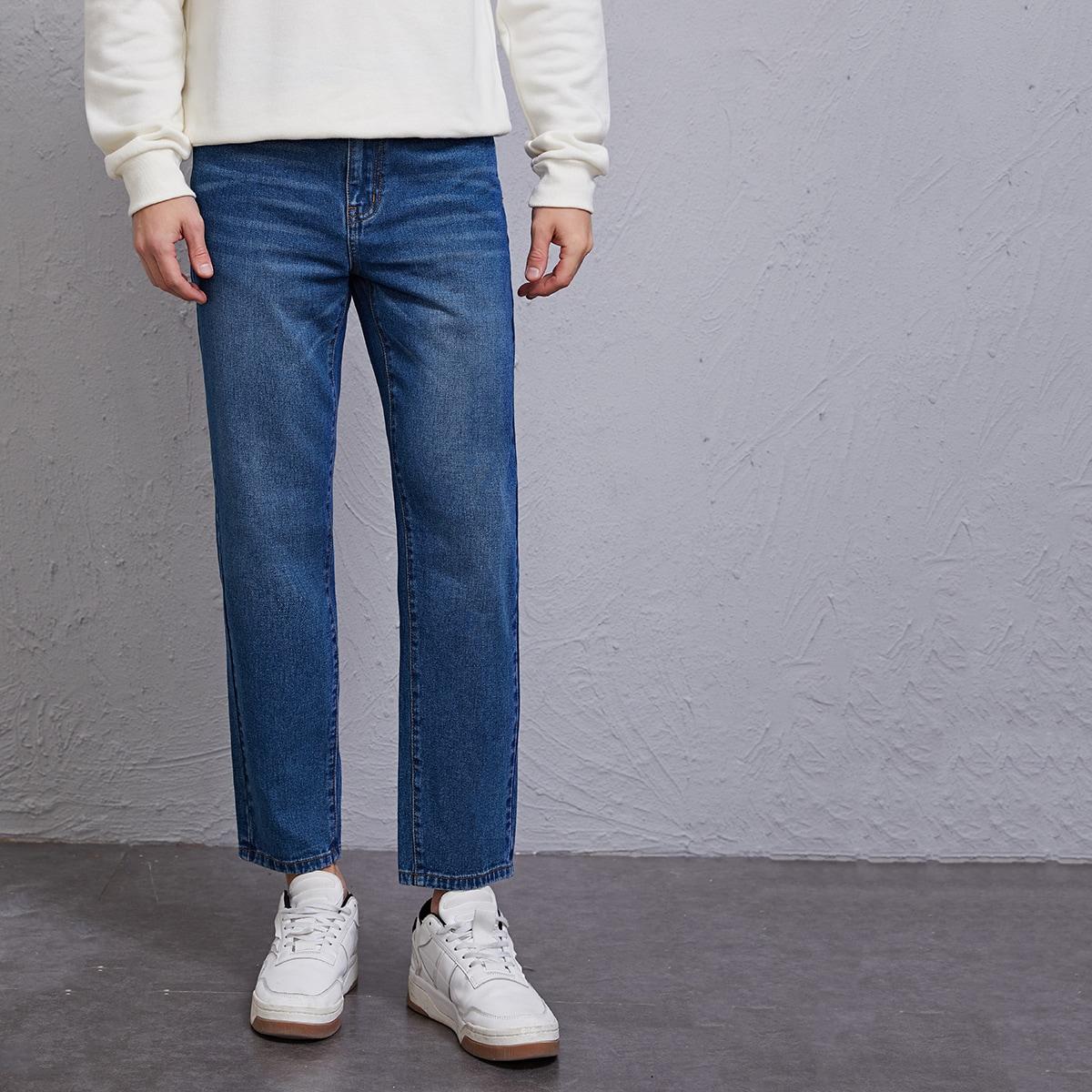Одноцветный повседневный мужские джинсы
