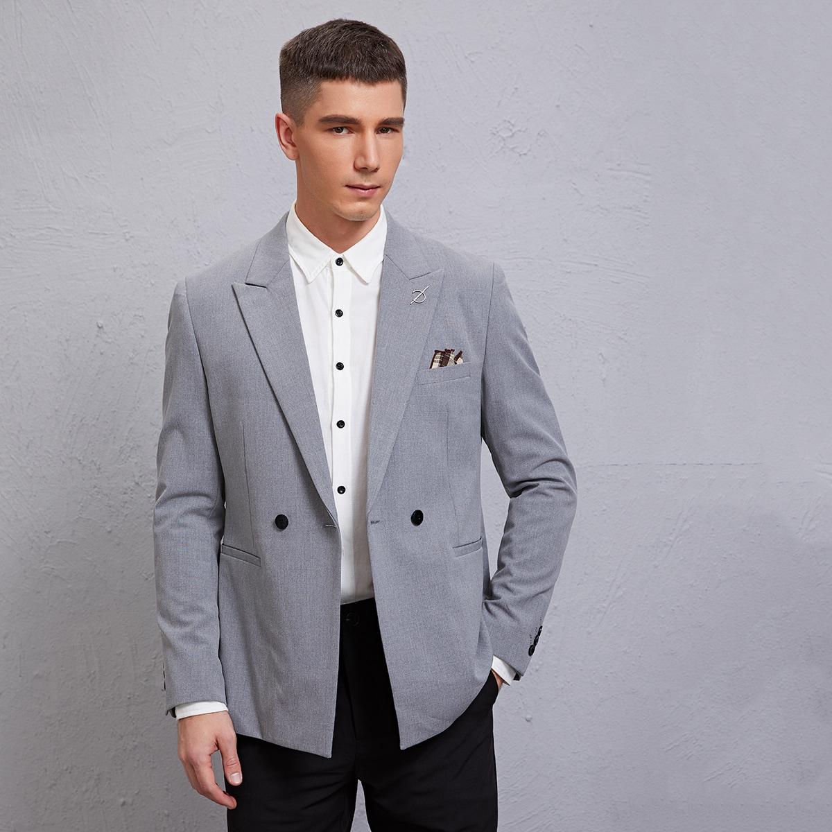 Men Lapel Neck Double Button Blazer, SHEIN  - buy with discount