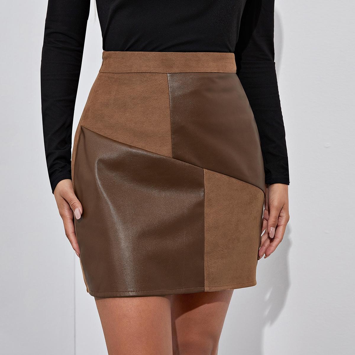 Контрастная замшевая юбка
