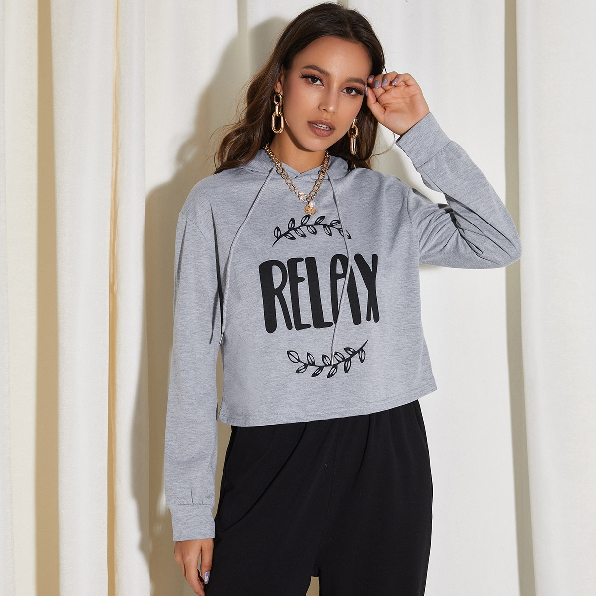 Letter & Plants Graphic Drawstring Crop Hoodie