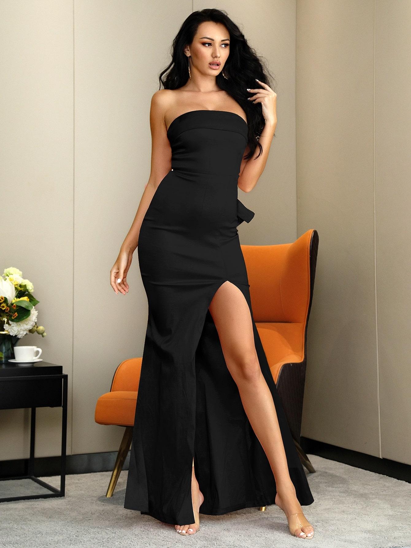 Split Thigh Big Bow Satin Prom Dress thumbnail