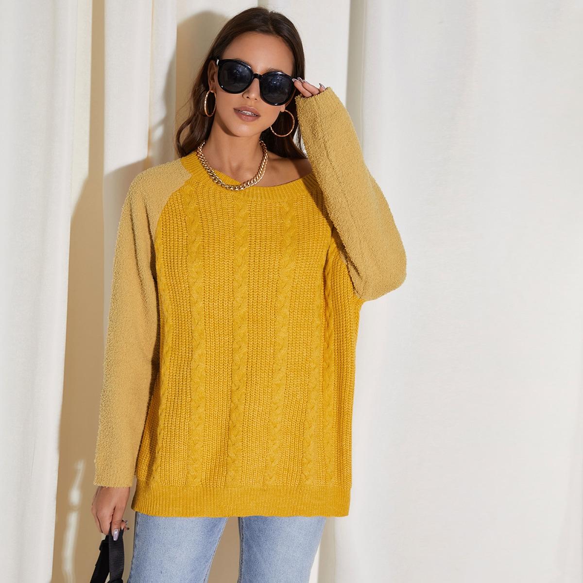 Вязаный длинный свитер с рукавом реглан