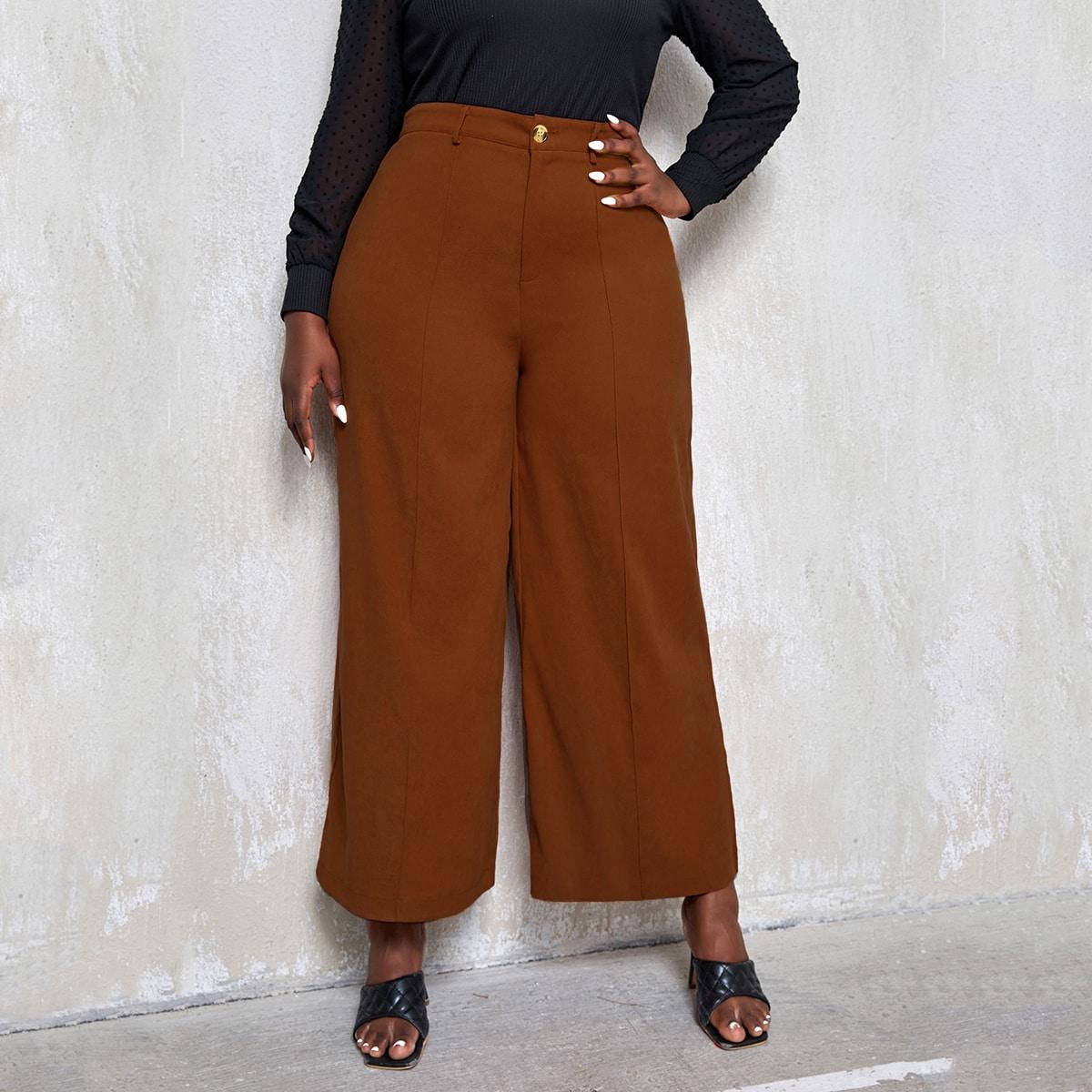 Замшевые широкие брюки размера плюс