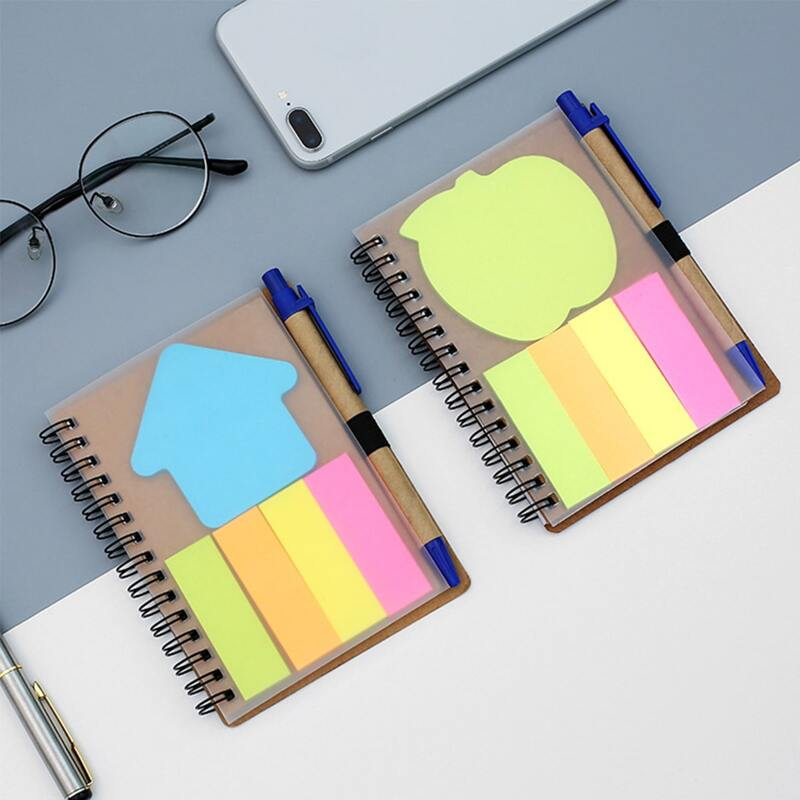Random 1set Spiral Notebook & Sticky Note & Pen, Multicolor