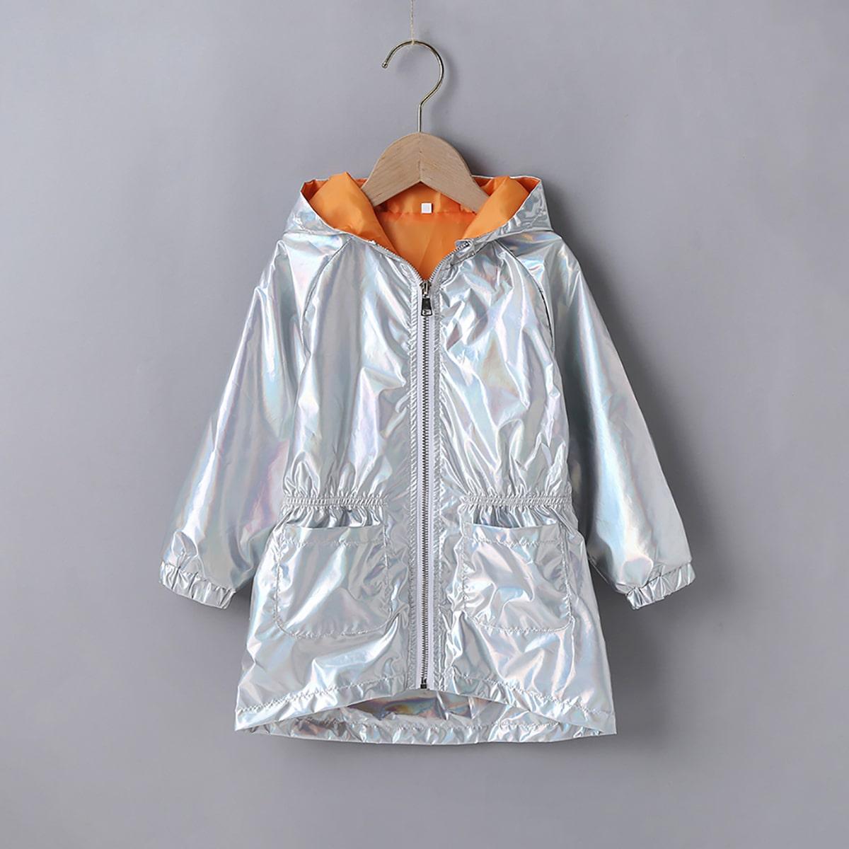 С карманами одноцветный повседневный куртки для девочек