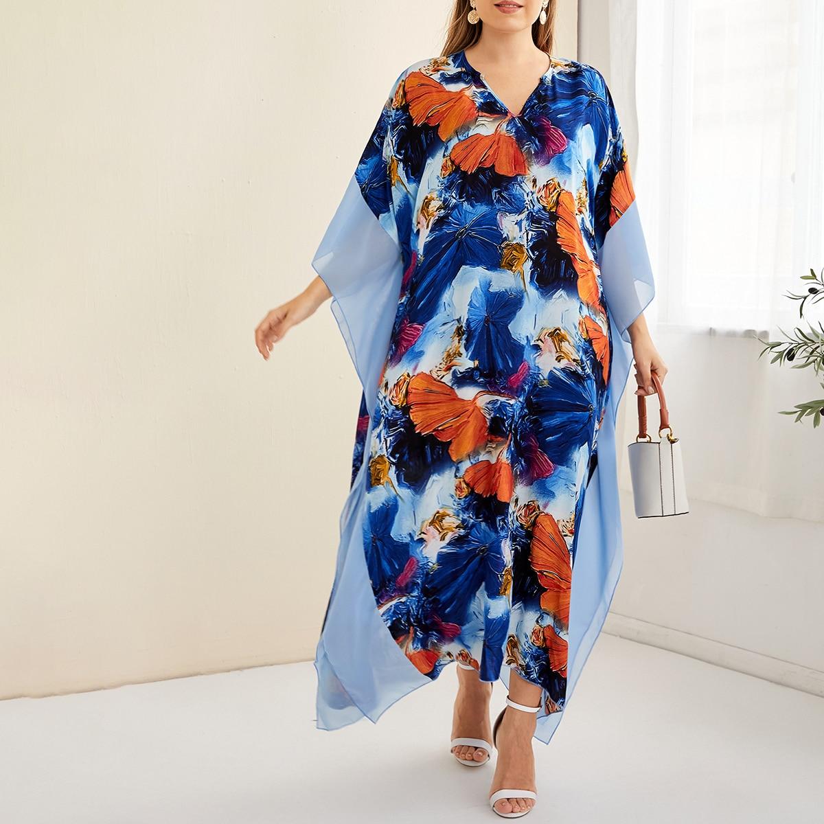 с оборками Цветочный Скромный Платья размер плюс