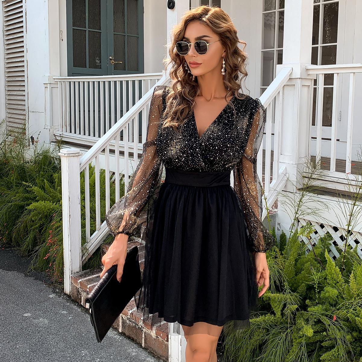 Блестящее сетчатое платье с рукавами фонариками