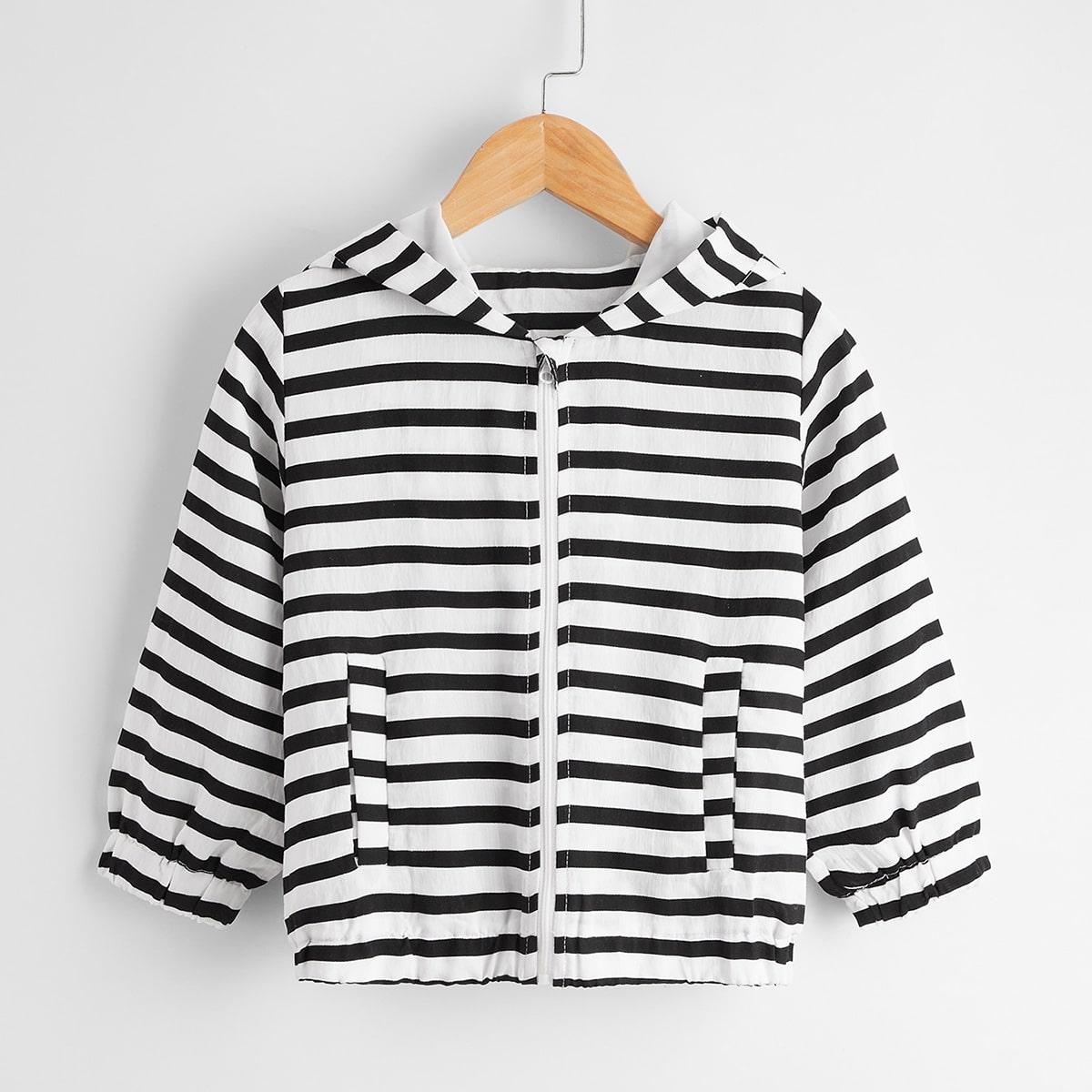 Куртка в полоску на молнии с капюшоном для мальчиков