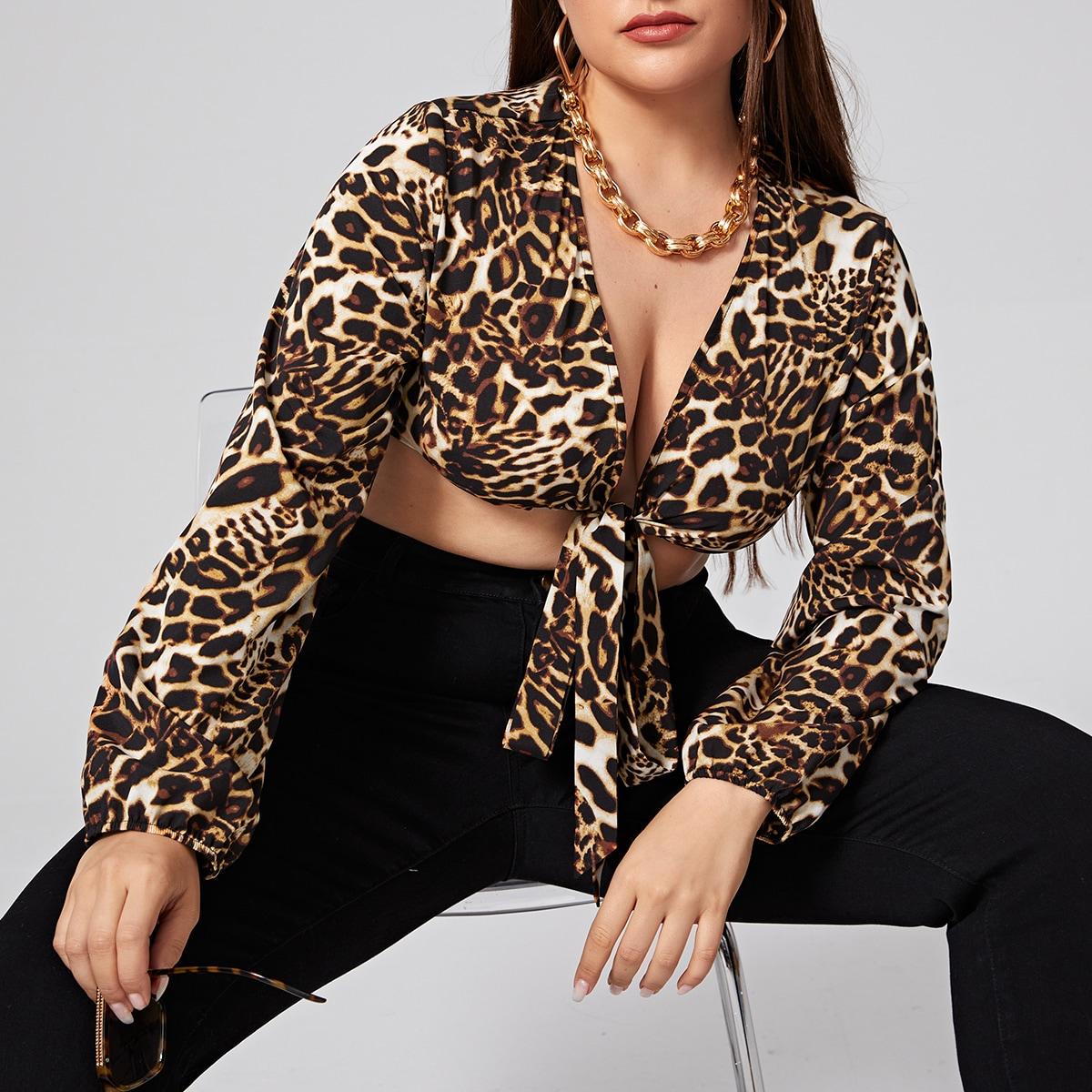 Многоцветный с батом перед леопард бохо женские топы размер плюс