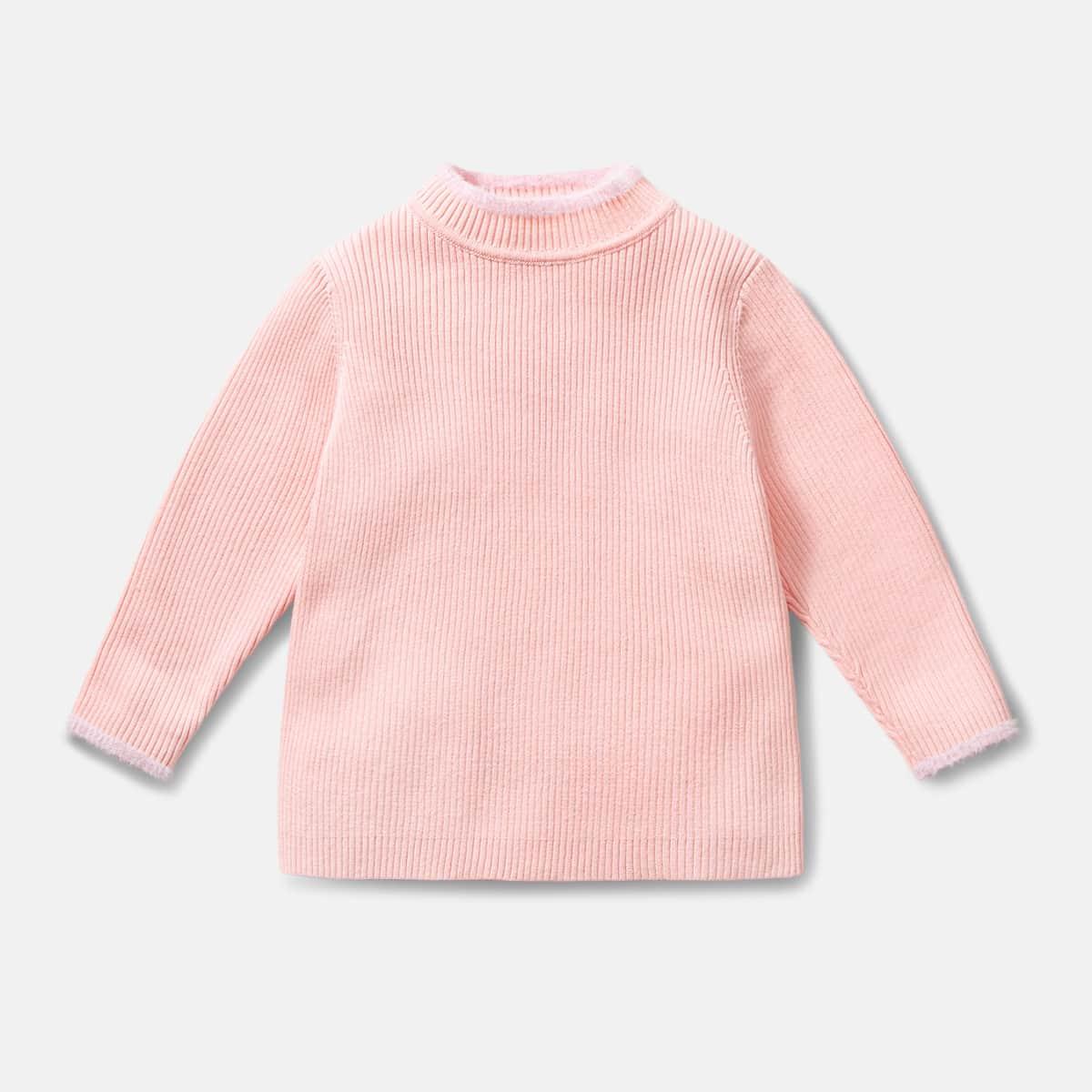 Трикотажный одноцветный повседневный свитеры для девочек