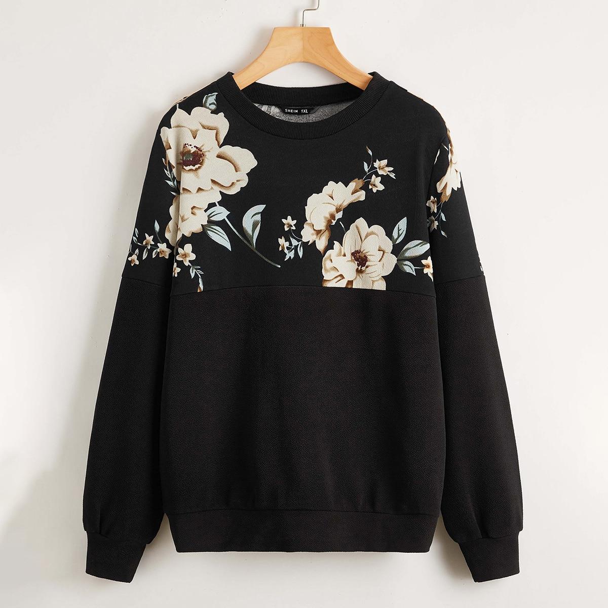 Пуловер размера плюс с цветочным принтом