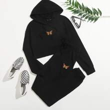 Butterfly Graphic Hoodie & Drawstring Joggers Set