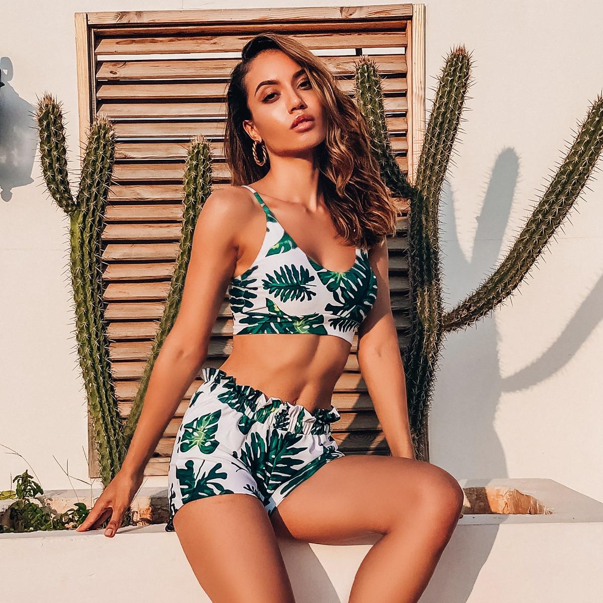 Tropical Shorts Bikini Swimsuit
