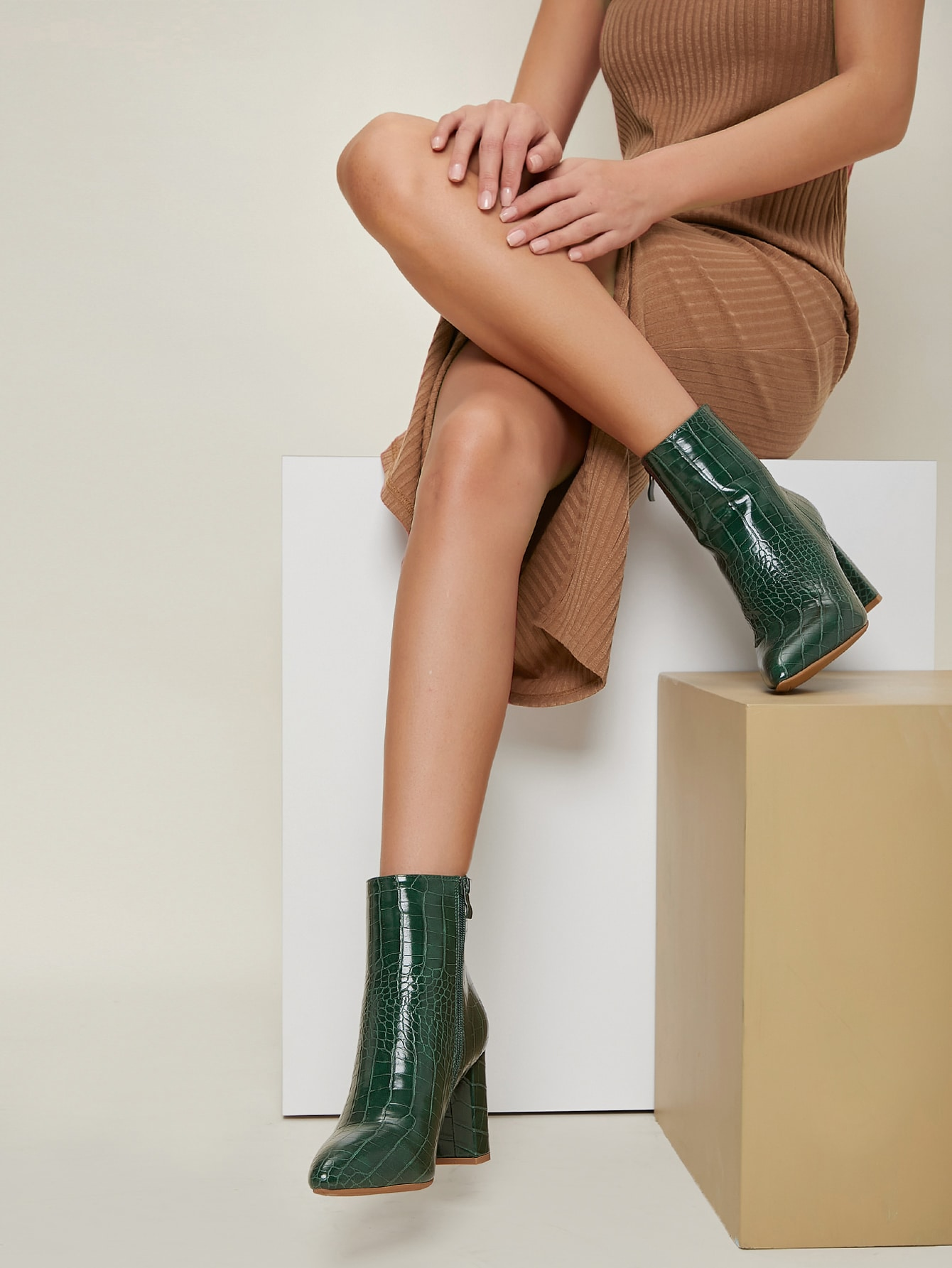Faux Croc Leather Zip Up Ankle Boots