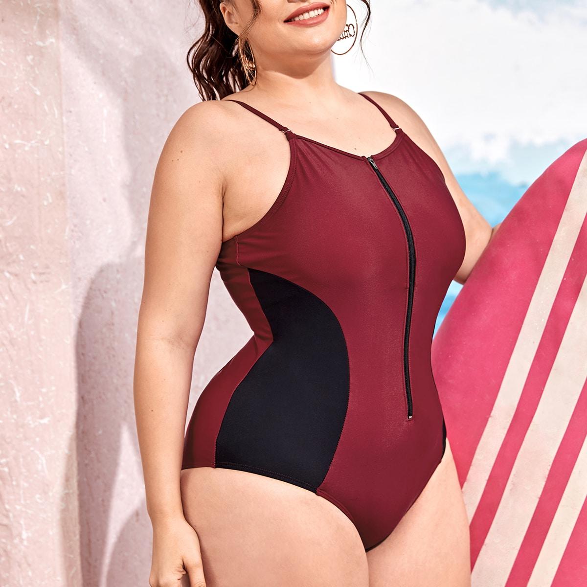 на молнии Контрастный цвет Спортивный Слитный купальник размер плюс