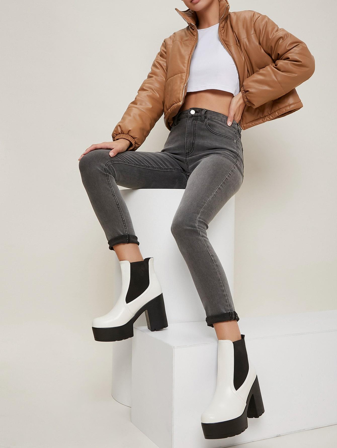 High Block Heel Lug Platform Sole Chelsea Boots