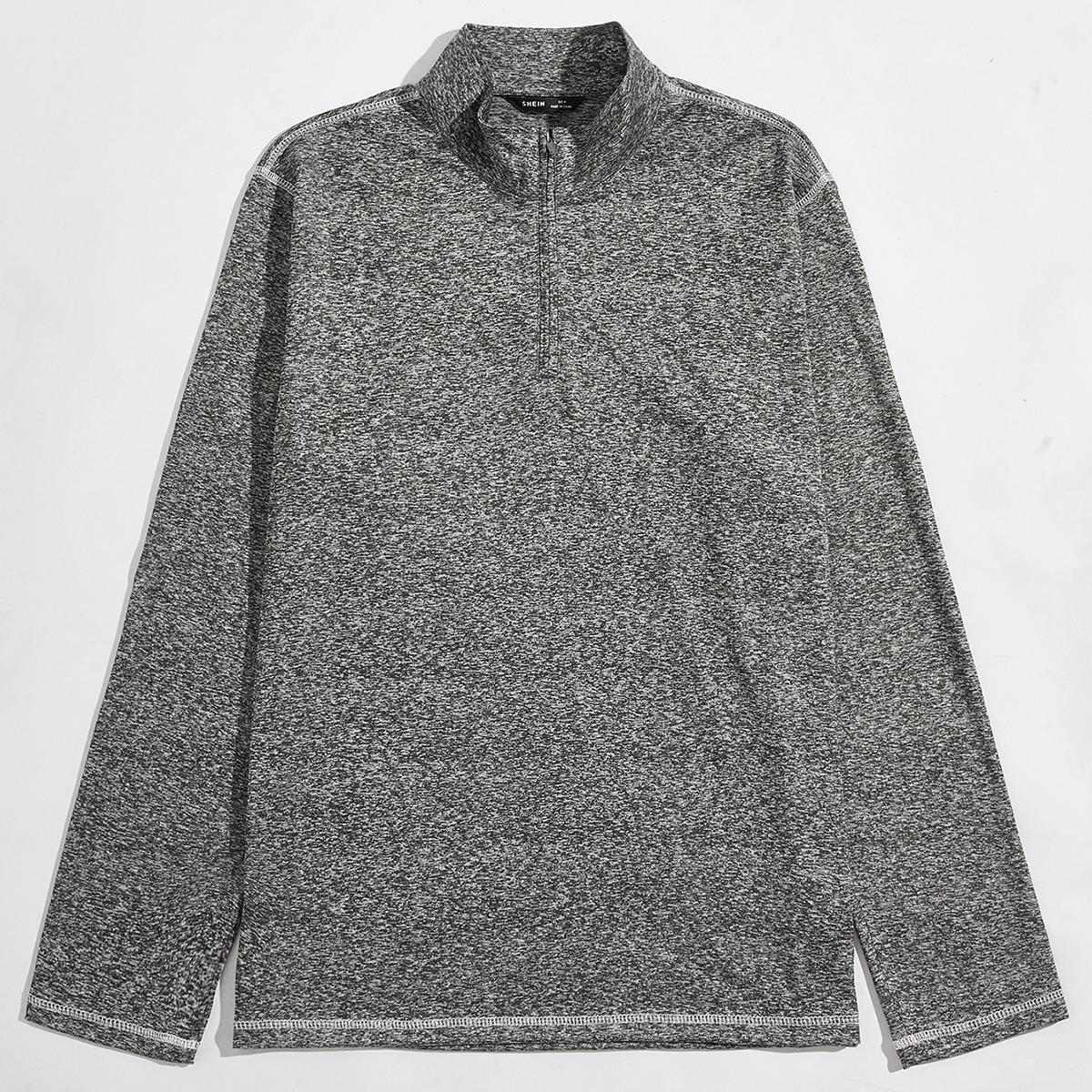 Men Zip Half Placket Stitch Trim Polo Shirt