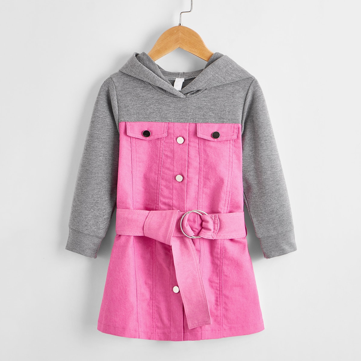 С поясом контрастный цвет повседневный джинсовые платья для девочек
