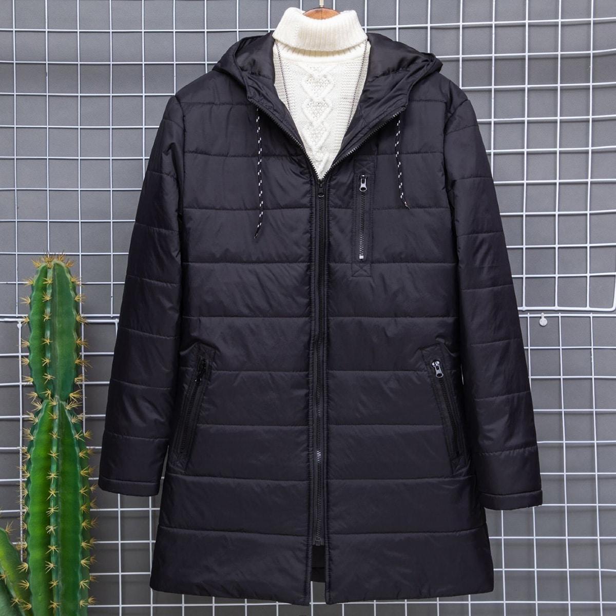 Мужское стеганое пальто на молнии с капюшоном