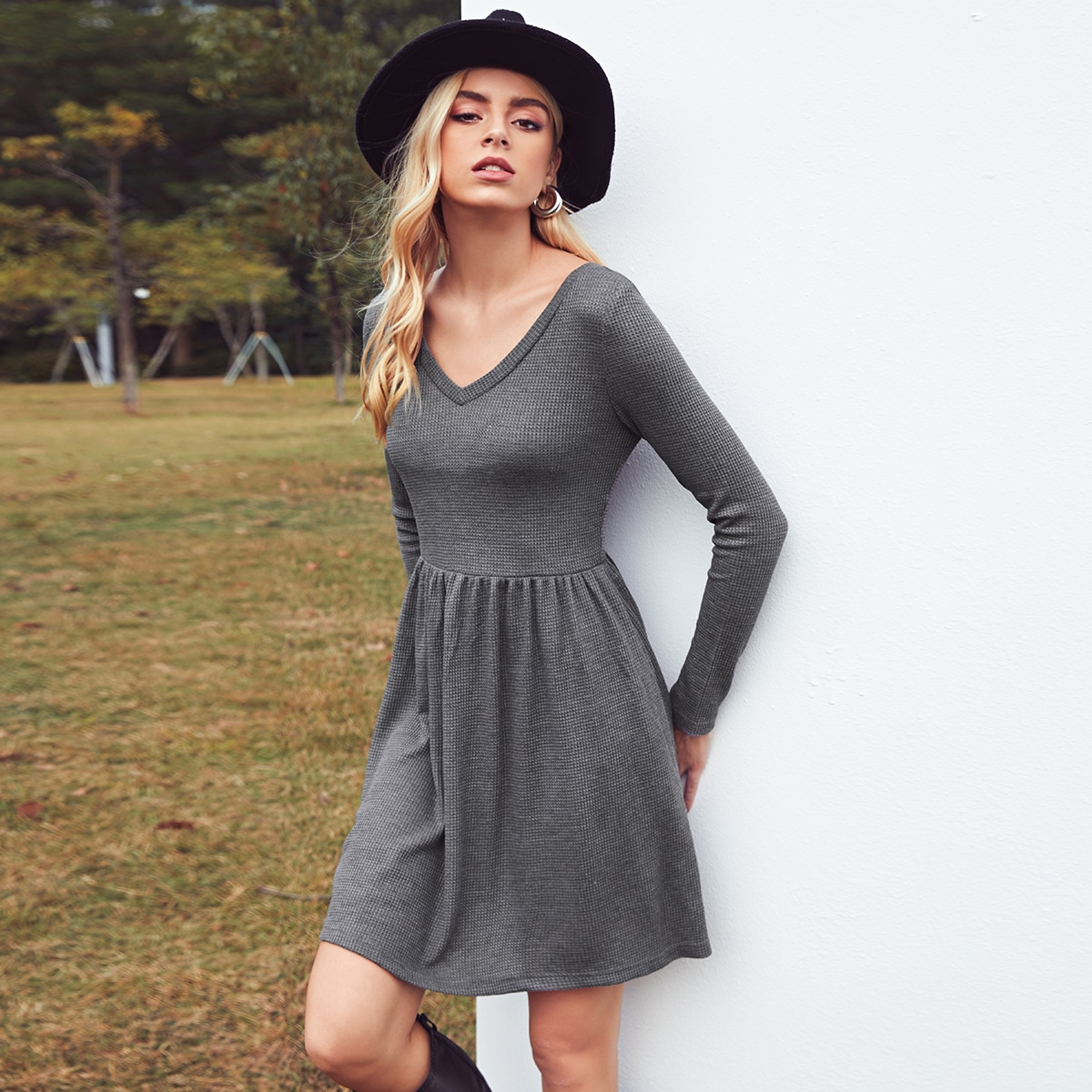 Double V Neck Solid Dress
