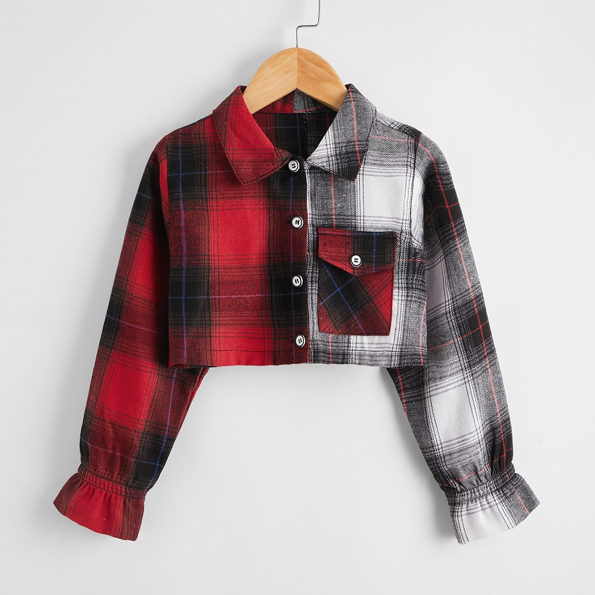 Карман клетчатый институтский блузы для девочек