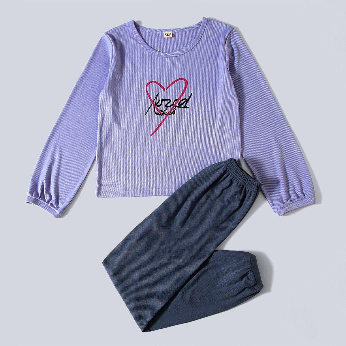 Трикотажный буква повседневный домашняя одежда для девочек