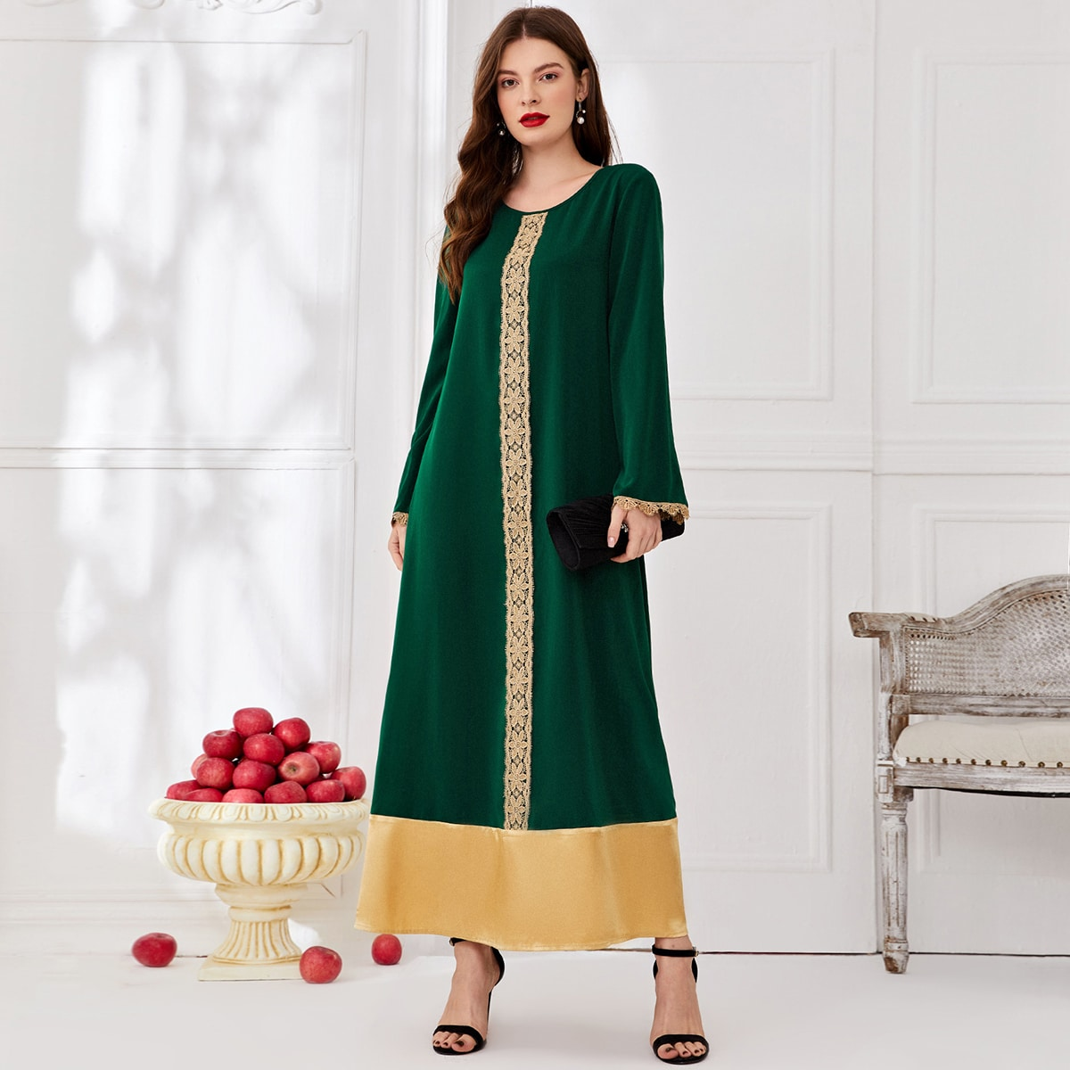 Контрастные кружева Контрастный цвет Повседневный Платье