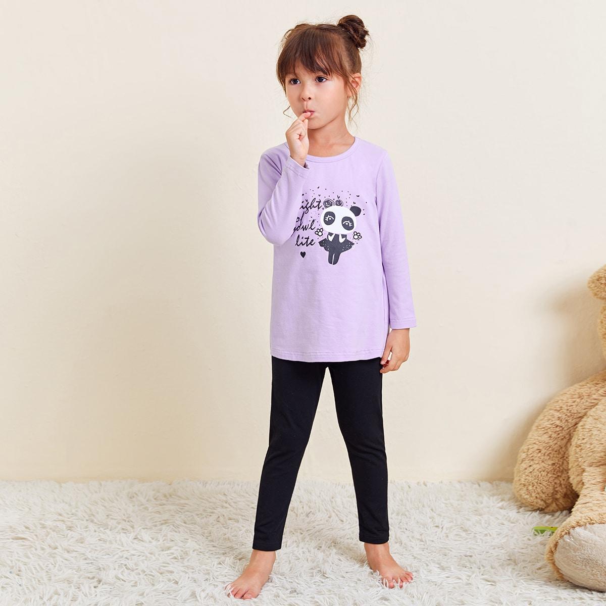 Мультяшный принт повседневный домашняя одежда для девочек