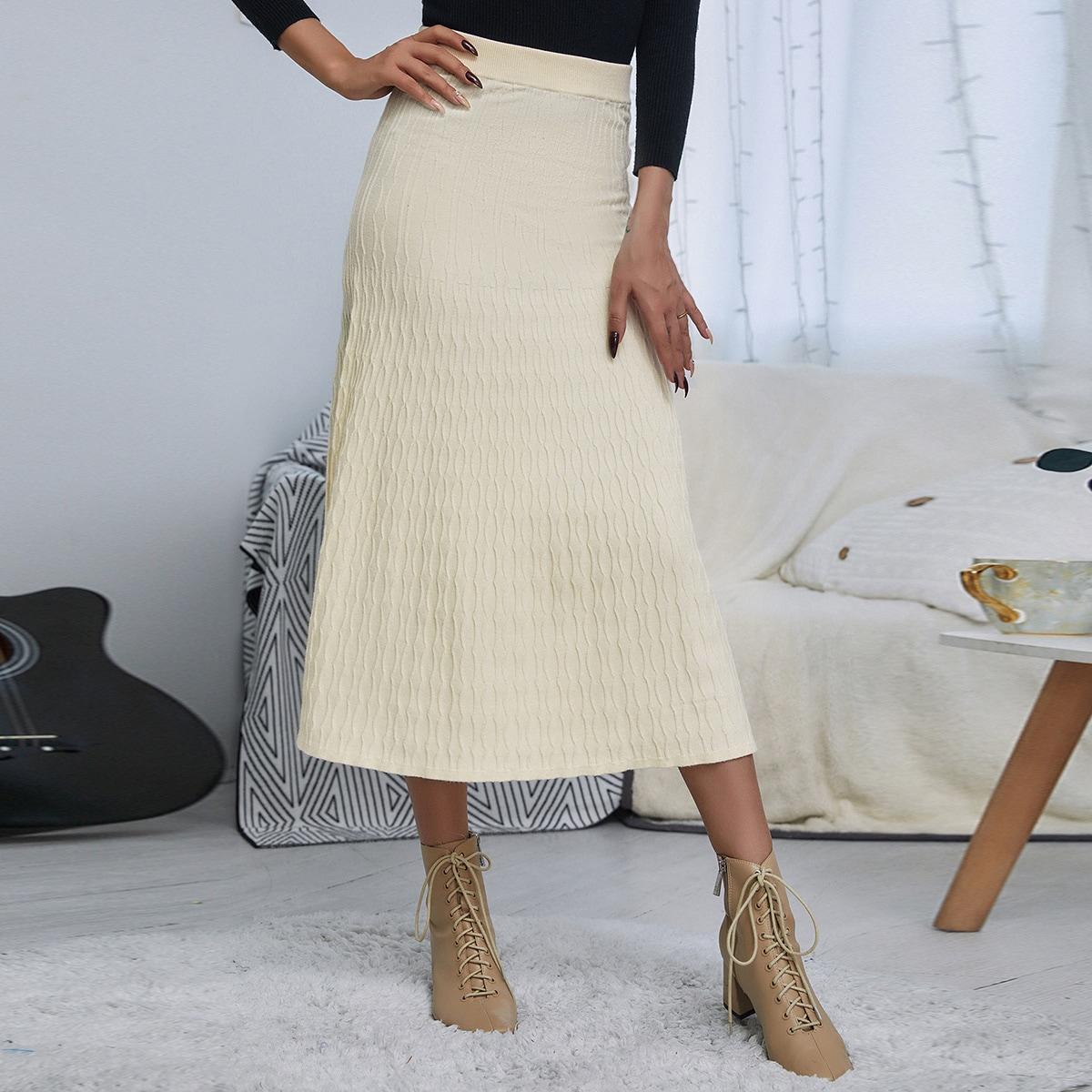Одноцветный повседневный вязаные юбки