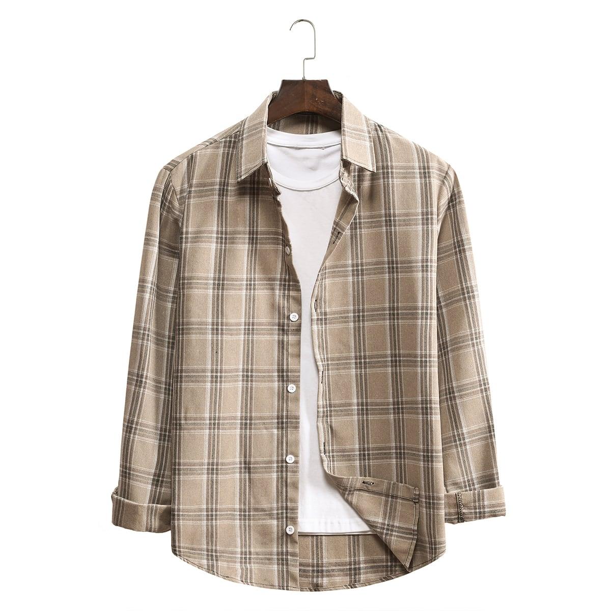 Однобортный Клетчатый Институтский Мужские рубашки SheIn smshirt03200901154