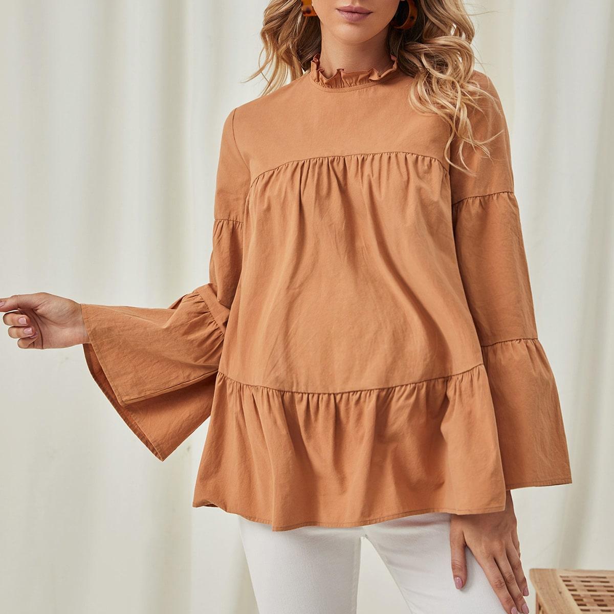 Пуговица одноцветный милый блузы для беременных