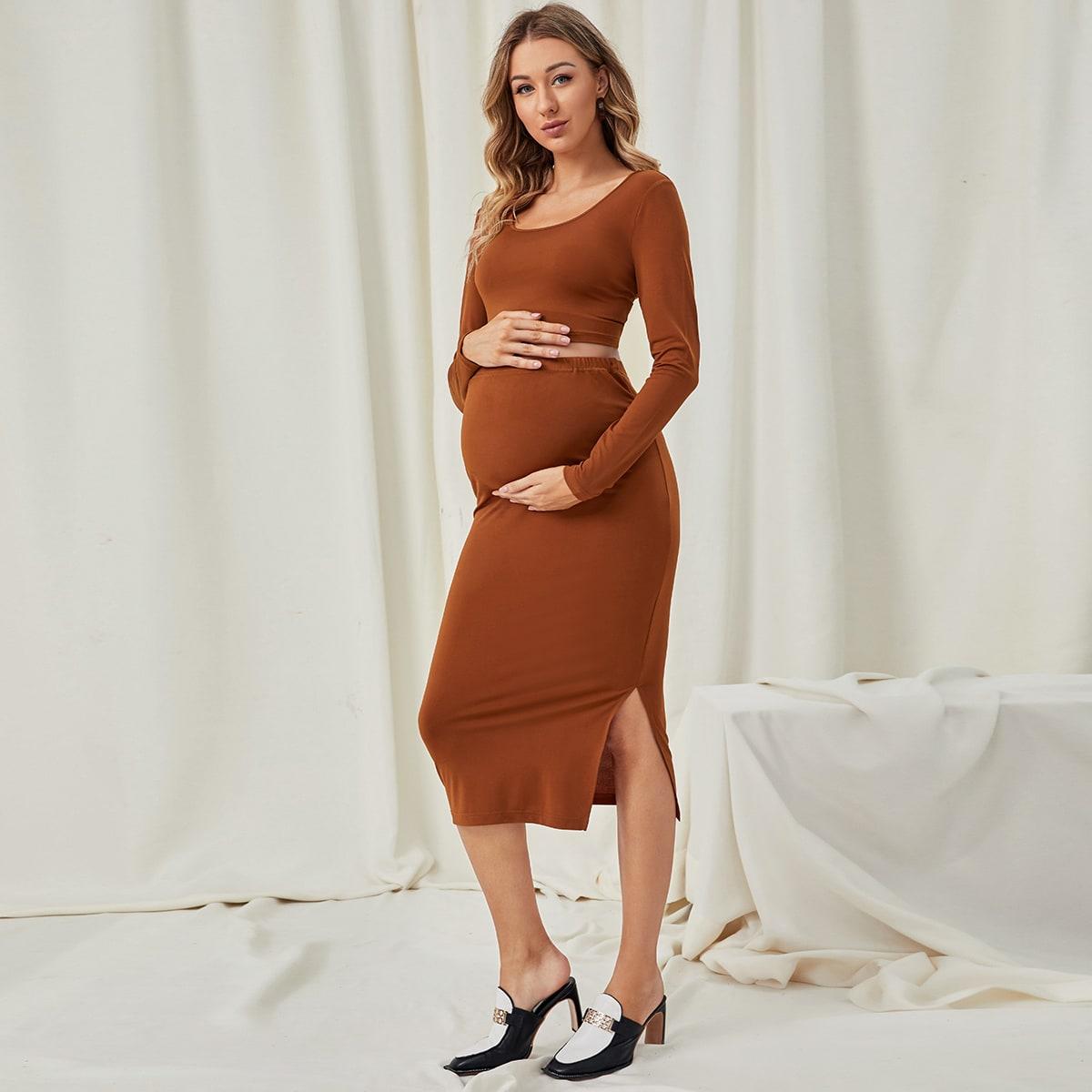 Пуговица ровный цвет элегантный комплект из двух предметов для беременных