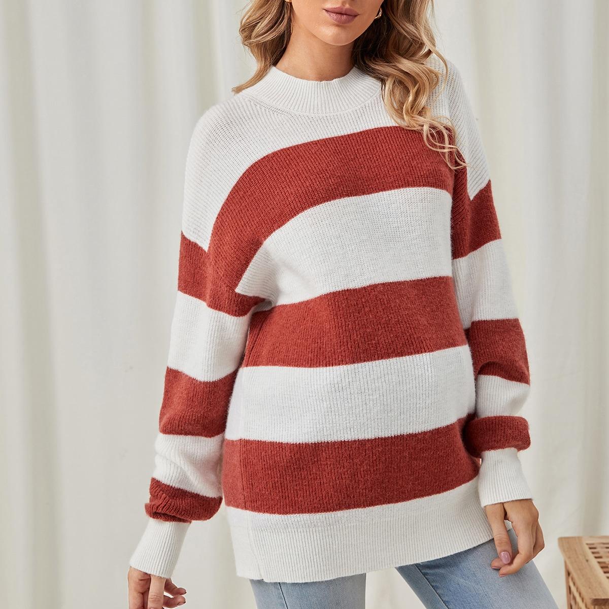 Полосатый повседневный свитеры для беременных