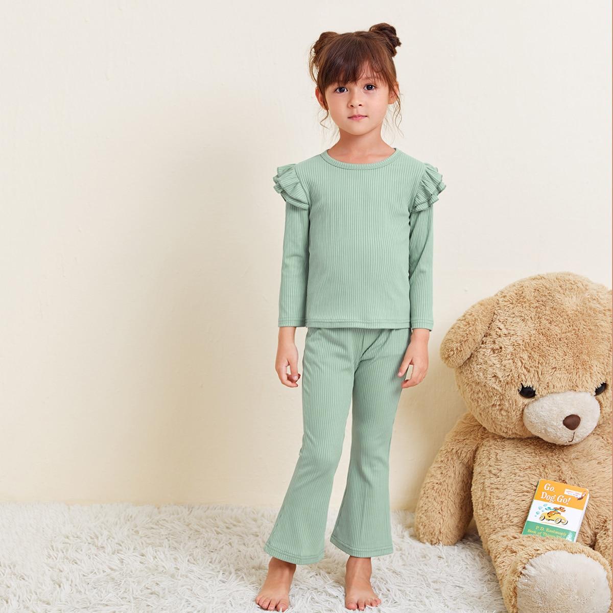 С оборками одноцветный повседневный домашняя одежда для девочек