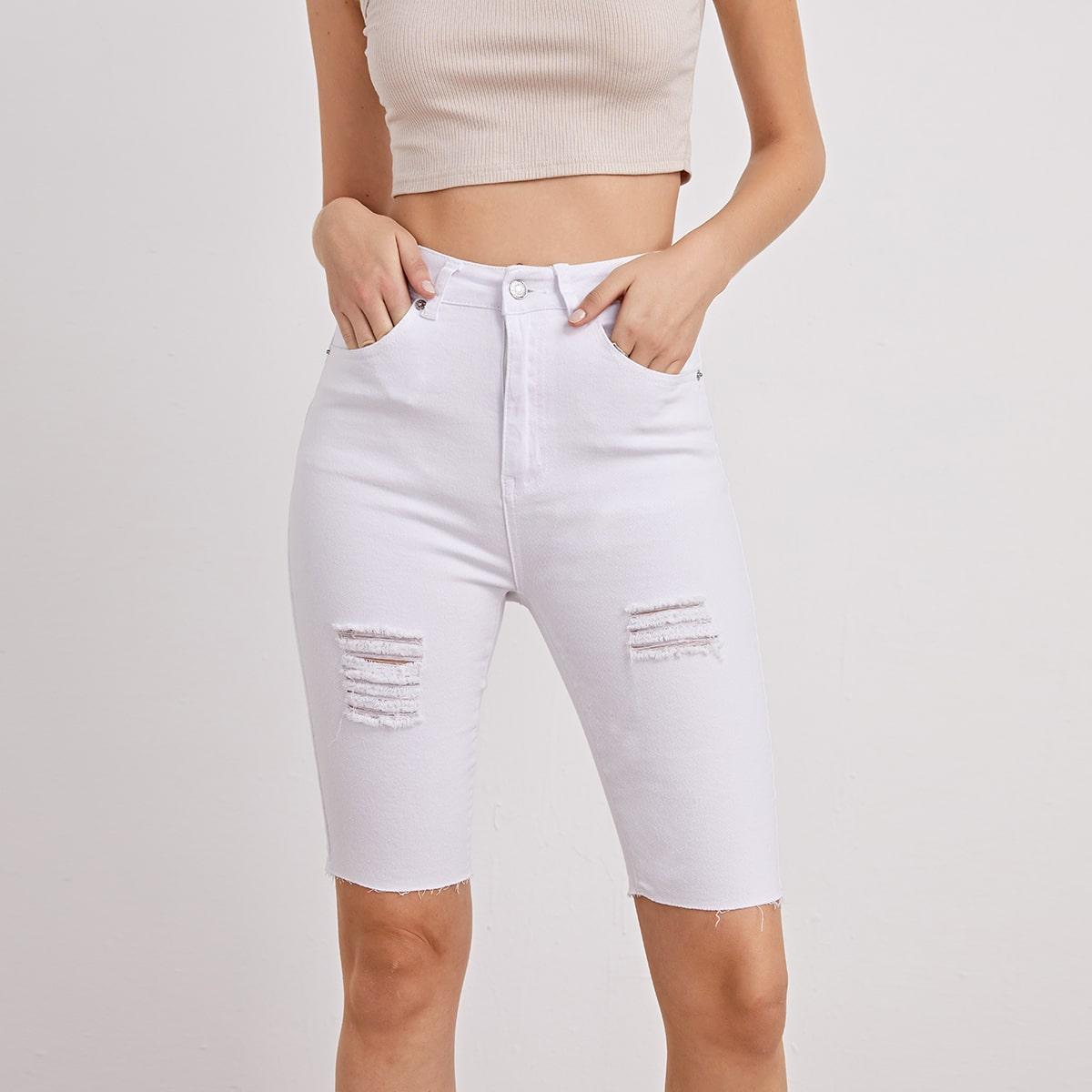 Пугавица одноцветный джинсовые шорты