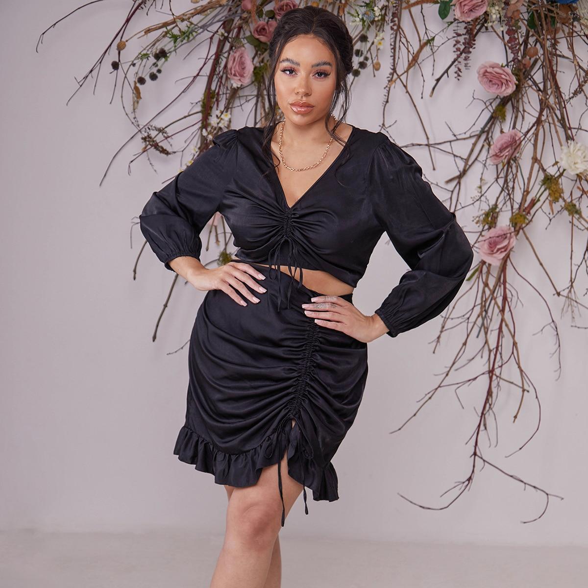 Plus Drawstring Front Crop Blouse With Ruffle Hem Skirt