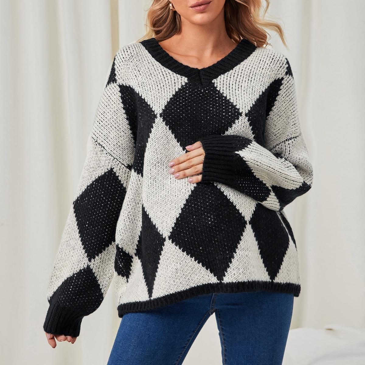 Геометрический повседневный свитеры для беременных