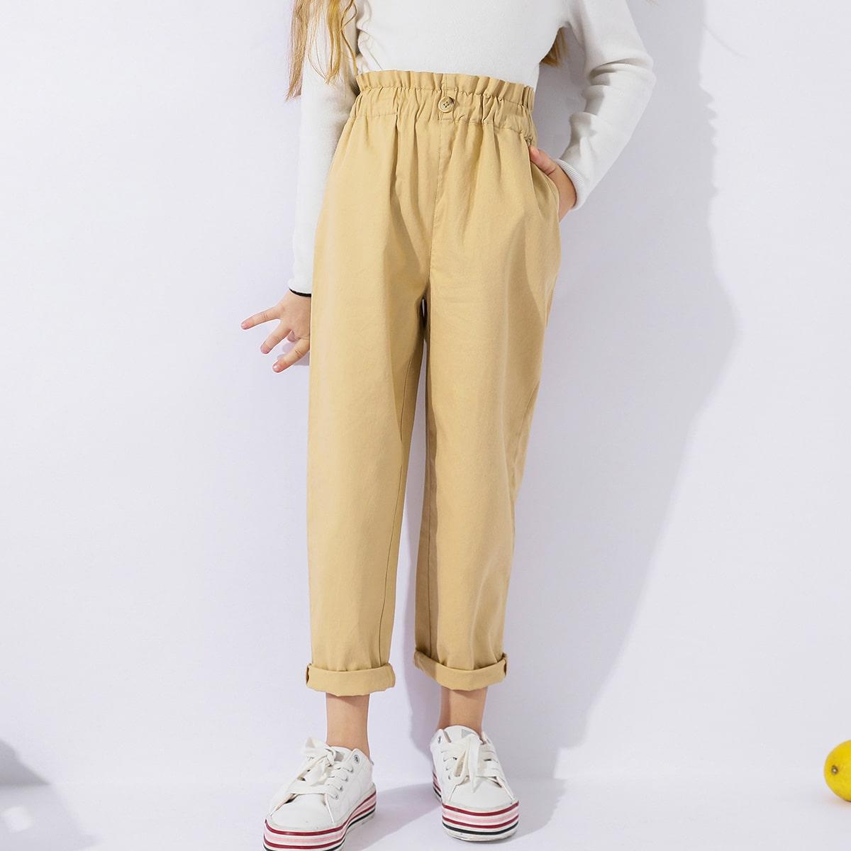 Однотонные брюки с присборенной талией для девочек