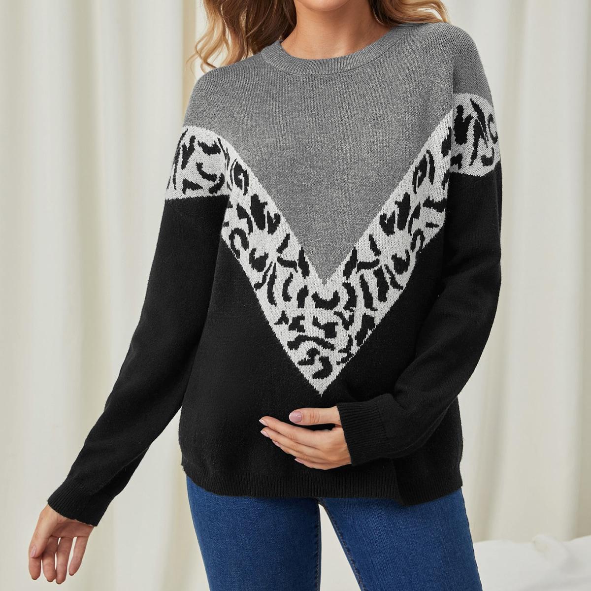 Леопардовый повседневный свитеры для беременных