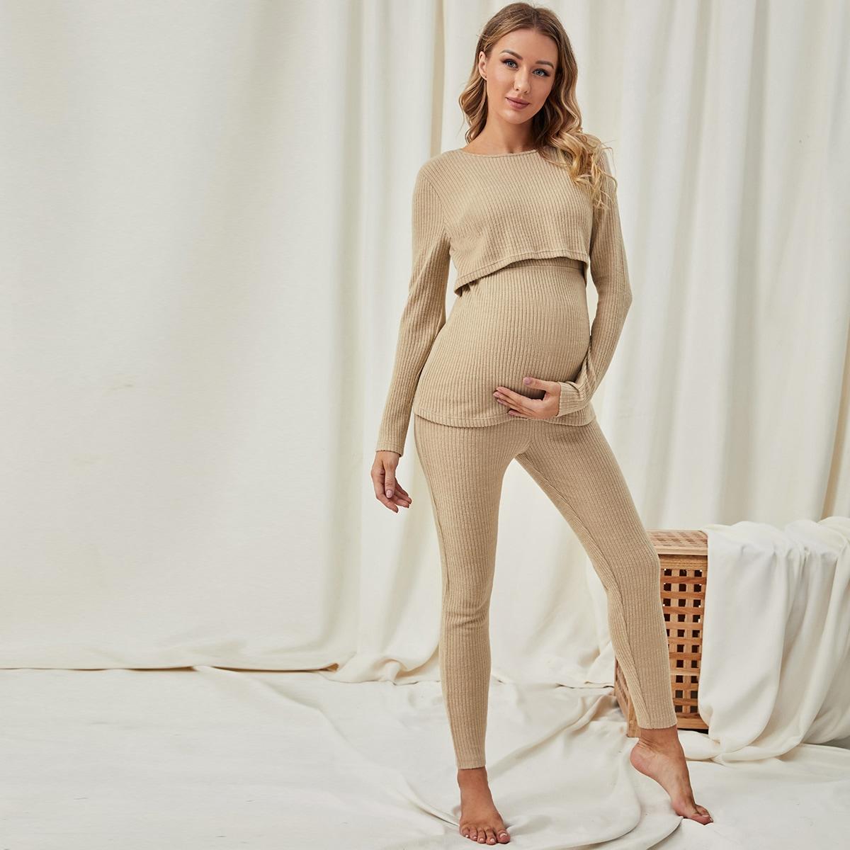 Umstandsmode Schlafanzug Set Strick Pflegetop & Leggings