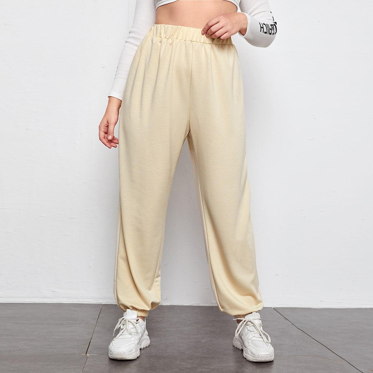 Спортивные брюки размера плюс с эластичной талией