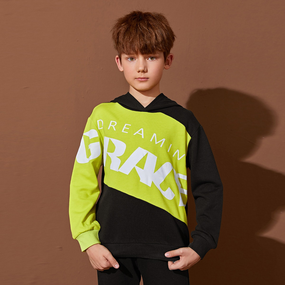 Boys Letter Graphic Two Tone Hoodie