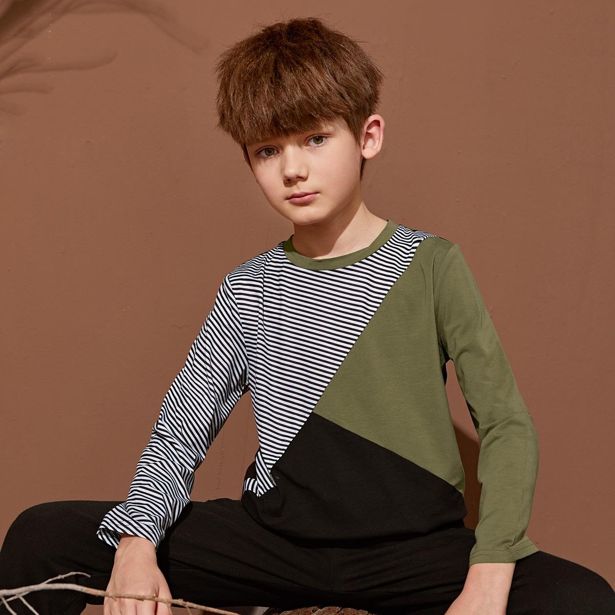 Полосатый повседневный футболки для мальчиков