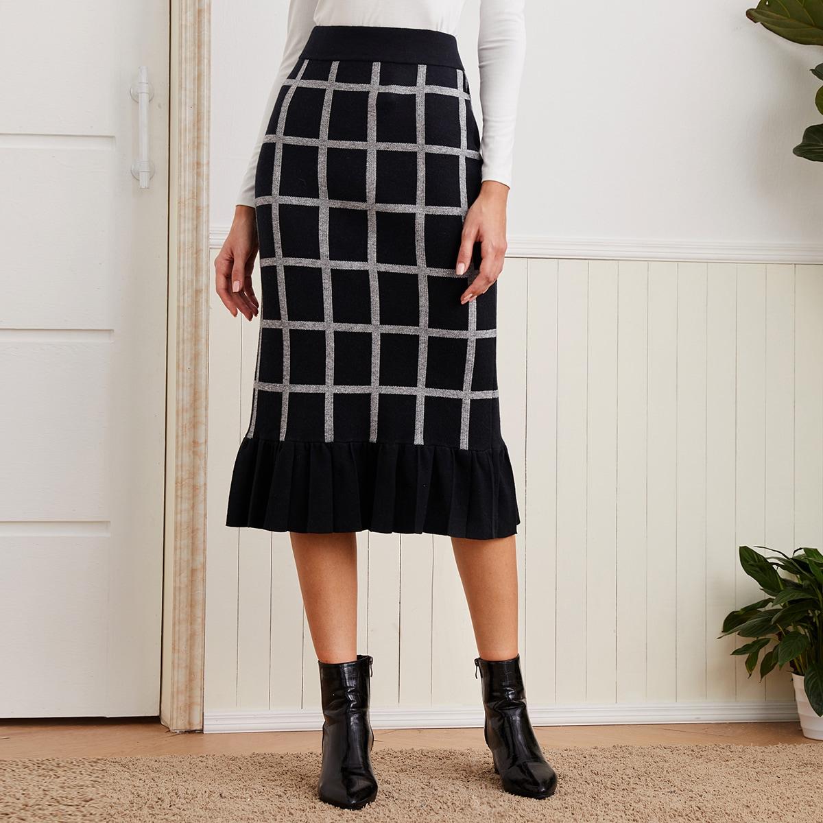 С оборками клетка повседневный вязаные юбки