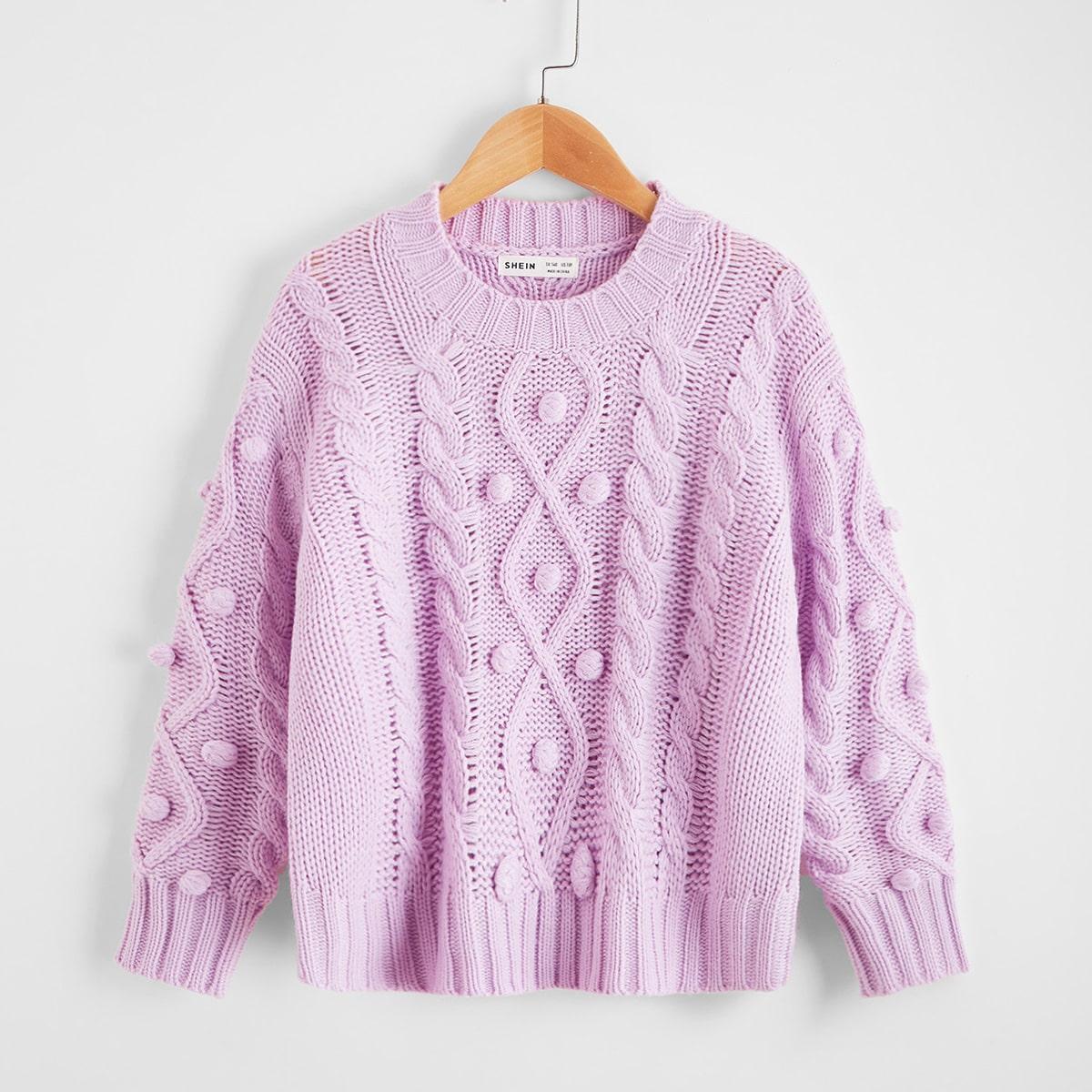 Помпон одноцветный повседневный свитера для девочек